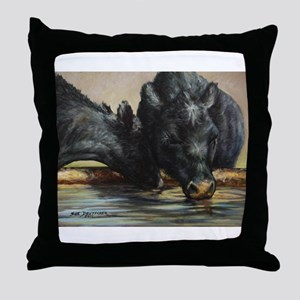 Two Black Angus Throw Pillow